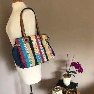 Rosetti denim striped purse